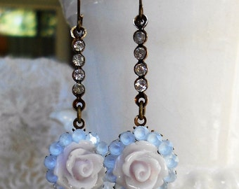 Vintage assemblage earrings rhinestones pink roses Powder blue glass one-of-a-kind Sweet as Candy Triolette jewelry