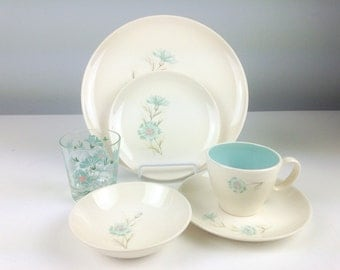 Ever Yours Boutonniere by Taylor Smith Taylor Dinnerware Setting for One, TST, 1950s Turquoise