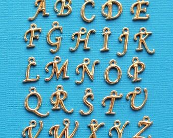 Script Alphabet Letter Charms Antique Gold Tone Full Alphabet 26 Charms Beautiful Cursive Design - ALPHA900