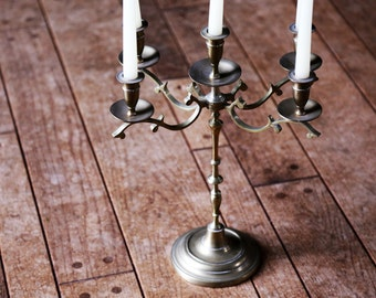 Vintage Brass Candelabra - Large Decorative 5 Candle Holder / Centerpiece / Home Decor / Rustic Holiday Christmas Table