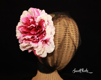 Large Peony Flower Hair Clip / Pinup / Wedding Hair Accessory