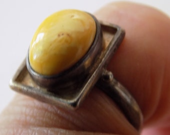 "Vintage ring, size 6 & 1/2 sterling silver and butterscotch amber ring signed ""LP"", designer ring"