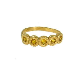 SALE Yellow sapphire eternity ring, Yellow Gold Ring, Enternity ring