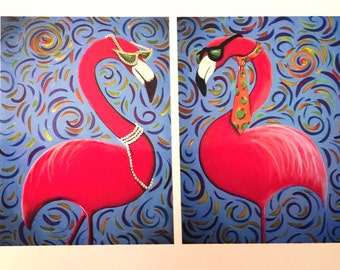 Flamingo Chic and Dude 2 Whimsical Florida Art Magnets