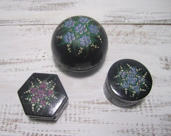Three black floral hand painted lacquer boxes instant collection trinket stash boxes