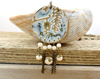 Distressed Flower Necklace, Long Pearl Necklace, Nature Inspired Beaded Necklace, Ivory Wisteria Design, Painted Garden Pendant