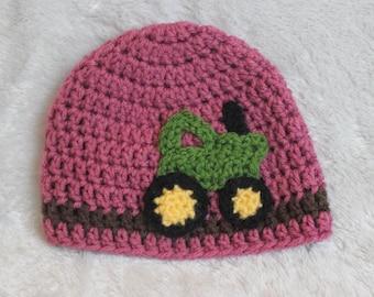 Crochet Korner Crochet Tractor Hat Girl Theme Birthday Party Hat Perfect Photography Prop Baby Shower Gift Birthday Gift Winter Hat Girls
