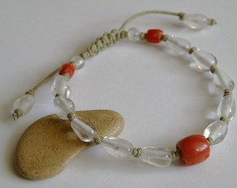 Italian Coral and Himalayan Crystal pull out gemstone bracelet - Barrel shaped - Sand colored waxed cotton cord - Buddhist - Tribal jewlery