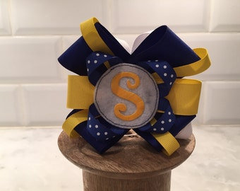 Made to match SCHOOL BoWs - monogrammed letter- initial - custom colors - school uniform