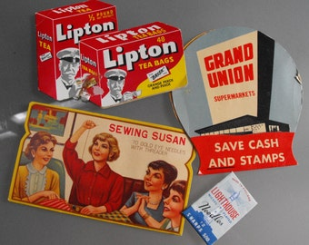Sewing Needle Kits, Advertising, Vintage Sewing, Sewing Susan, Lipton Tea, Grand Union Supermarkets, Lighthouse Needles, Sewing Accessory