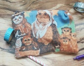 star wars upcycled make up or pencil bag vintage style featuring Ewoks