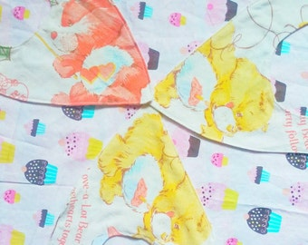 Carebears Bandana baby bib SET OF 3 upcycled hipster vintage style by felices happy designs