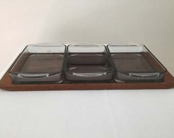 Vintage Arne Basse Denmark Teak Serving Tray with glass inserts