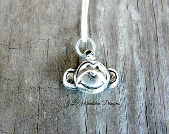 Monkey Necklace - Silver Monkey - Chimp Necklace - Animal Jewelry - Monkey Jewelry - Monkey Pendant -Wildlife Jewelry