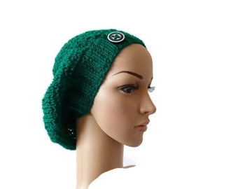 Womens Knit Slouchy Beanie, Hat with Button, Fall Fashion Accessory, Winter Hat