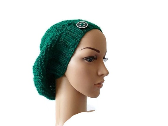womens knit slouchy beanie hat with button fall fashion
