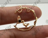 2 pcs 24K Gold filled Brass Charm Bird Pendant,Bird pendant Connector,necklace Connector loose bead, Charms Jewelry finding beads