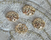 10 pcs 10mm 24K Gold Filled  Flower Bead Cap,filled Brass Bead Cap, Charms Jewelry Findings,Gold Filled Simple Bead Cap