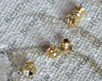 10 pcs 4mm 24K Gold plated Brass Charm Bead Cap, Brass Bead Cap, Charms Jewelry Findings, Simple Bead Cap