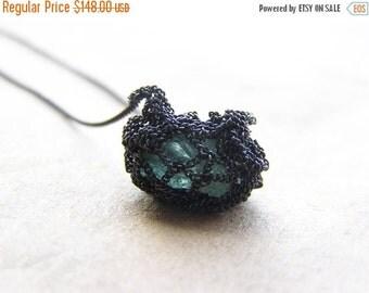 30% SALE petite auqamarine necklace, sterling silver, crochet necklace, oxidized necklace, ooak