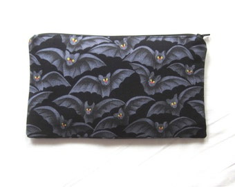 Friendly Bats Fabric Zipper Pouch / Pencil Case / Make Up Bag / Gadget Pouch