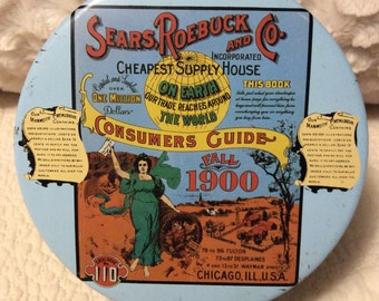 Vintage Sears Roebuck Tin Container by Mr Coffee 1970s Advertising