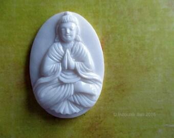 Namaskara Mudra Buddha Carved Bone Cabochon, 42mm