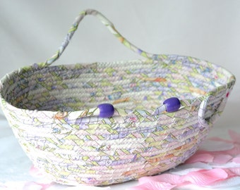 Cottage Chic Yarn Bowl, Handmade Lavender Bowl Decoration, Hand Coiled Fiber Bowl, Shabby Chic Mail Basket