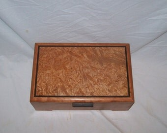 "Keepsake box made of Cherry with Maple Burl Top  12""'x7 1/2''x4 1/2'' Handcrafted Keepsake Box"