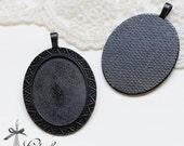 4Pcs 30x40mm oval Enameled Black Blank Cabochon Setting pendants frame Base for making necklaces and pendants(SETHY-259)