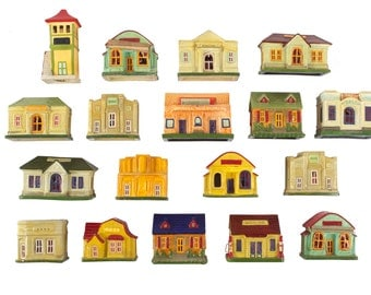 Set of 18 Christmas Houses // Vintage // Made in Japan // Composition // Train // Village
