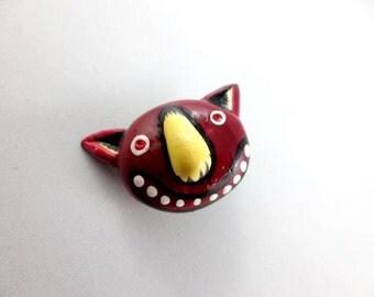 Burgundy Imp - Wearable Art Pin