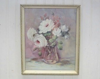 Vintage Framed Lola Ades Floral White Rose Picture Shabby Farmhouse Cottage Decor