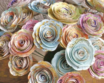 "bulk map 50 spiral rolled roses from vintage  atlas pages maps  1-1.5 inch or 2- 2 1/4"" no stems"