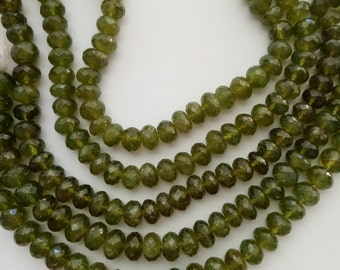 Olive Garnet Faceted Rondell Gemstone beads, 9-7 x 6 my,  8 inch strand (approx. 38 beads)