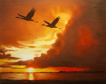 Sandhill Cranes 11 X 17 print (image 10.5 x 12.75) personally signed by artist RUSTY RUST / L-117-P