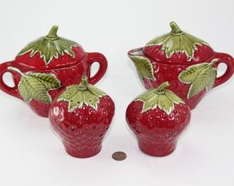 Vintage Strawberry Sugar Creamer Set & Salt And Pepper Set Large Size Ceramic Hand Crafted Farmhouse Decor Garden Party