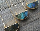 Labradorite Half Moon Necklace | 14 Gold Fill | Dainty Necklace | Labradorite | Gemstone | Healing Necklace