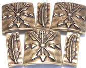Six 2 Hole Slider Beads Antiqued Brass Plated Arrows & Feathers Native American Western Indian Southwestern Tribal Hammered Look Design