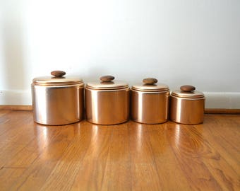 Mid Century Pink Aluminum Canister Set
