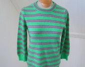 SALE J Crew Italian Cashmere Bright Striped Sweater in Green and Fuchsia M