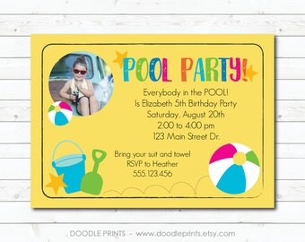 Pool Party Invitation, Printable Summer Pool Party Birthday Invitation, Summer Invitation, Beach Ball Invite, Picture Invitation
