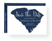 South Carolina Palmetto Moon State Silhouette Wedding Engagement / Save the Date Card w/ All Custom Colors and Content by Palmetto Greetings