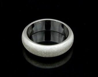 Sil-BR-009/2 Handmade 1 sandblast half round shank sterling silver 6.0mm. band rings
