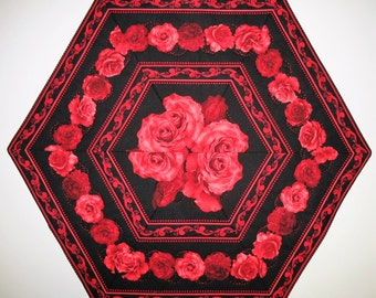 Roses Table Topper, Love, Romance, quilted, fabric from Timeless Treasures