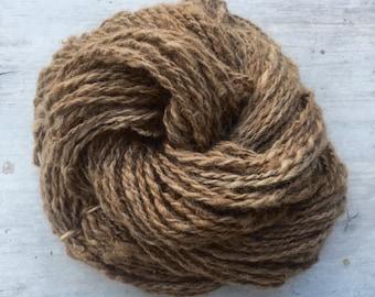 Handspun Ethically Raised Llama Yarn, Undyed Natural Brown Worsted
