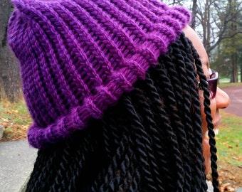 Knitted Royal Purple Beanie, Loom Knit Beanie