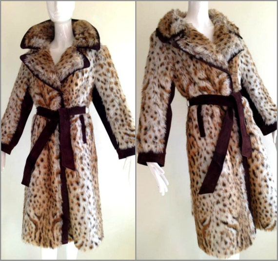 ViNtAgE 60s Snow Leopard Faux Fur Coat Stroller Jacket Shaggy Animal Print Mod Leather Swing Cheetah Rockabilly Twiggy Princess Trench Suede