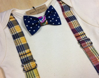 Suspenders and Bowtie BabySuit // Plaid // Snap on Bow // Baby Boy Onesie