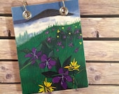 Recycled  Notebook - Large Refillable Notepad - Upcycled Children's Book - Mountain, Fog and Wildflowers